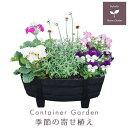 【送料無料】季節の寄せ植え 冬 タル型鉢 黒 ★ ギフトにも最適な季節のお花を寄せ植えに♪【プレゼント ブリキピック 玄関 ベランダ】