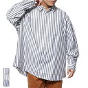 シャツ カジュアルシャツ ビッグシルエット オーバーサイズ ストライプ 長袖 レギュラーカラー トップス メンズ ネイビー ブラック グレー