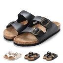 【あす楽対応】サンダル コンフォートサンダル ダブルベルト フラット 合皮 コルク シンプル シューズ 靴 メンズ ブラック ダークブラウン ホワイト