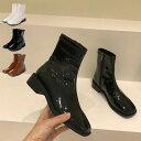 ショートブーツ エナメル PUレザー 合皮 ローヒール スクエアトゥ 白 シューズ ブーツ 靴 レディース ブラック ホワイト ブラウン