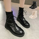 レースアップブーツ ショートブーツ ローヒール 無地 PUレザー 合成皮革 歩きやすい シューズ 靴 ブーツ レディース ブラック アイボリー