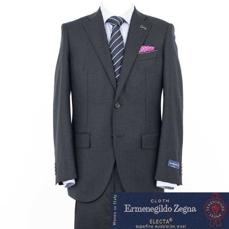 Style Edition|スタイルエディション Ermenegildo Zegna エルメネジルド ゼニア ELECTA 8mm幅 シャドウストライプ BLACK 2ボタンノータック スーツ