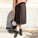 (ブラック)しっかりキレイめプリーツで大人女子スタイリング「forme」黒 black プリーツ スカート ミモレ ボトムス【F160920】【S171112】