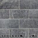 石材 床 平板 ギャラクシアンブラック 300×600mm角(2枚入り)クォーツサイト 黒 ガーデニング 敷石 でお 庭 を! エクステリア DIY