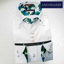 1604 国産長袖綿100ドレスシャツ ドゥエボットーニボタンダウン ホワイトジャガードマルチパターンメンズ fs3gm