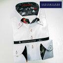 1604 国産長袖綿100ドレスシャツ ドゥエボットーニボタンダウン ホワイトジャガードヒョウ柄/レオパード柄メンズ fs3gm
