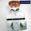 1604 国産長袖綿100ドレスシャツ ドゥエボットーニボタンダウン ホワイトジャガードハイビスカスメンズ fs3gm