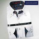 1605 国産長袖綿100ドレスシャツ ドゥエボットーニボタンダウン ホワイトパナマジャガードフラワー 着丈短めメンズ fs3gm