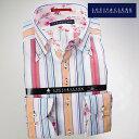 【楽天スーパーSALE】1607 国産綿100長袖ドレスシャツ ドゥエボットーニボタンダウン マルチストライプメンズ fs3gm【Sサイズのみ】