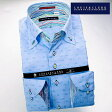 1605 国産長袖綿100ドレスシャツ ドゥエボットーニボタンダウン シャンブレーサックスジャガードミニペイズリードットメンズ fs3gm