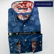 1607 国産長袖綿100ドレスシャツ ドゥエボットーニボタンダウン 着丈短め ネイビーブルージャガード迷彩風リーフ柄メンズ fs3gm