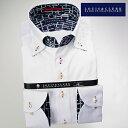 1607 国産綿100長袖ドレスシャツ ドゥエボットーニボタンダウン ホワイトジャガード小花柄メンズ fs3gm
