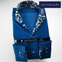 1512 国産コットンシルク長袖ドレスシャツ イタリアンススキッパースタンド ブルー小紋プリントメンズ fs3gm