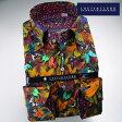 1512 国産シルクソフト加工綿100長袖ドレスシャツ ドゥエボットーニボタンダウン ボタニカルプリント ブラウンメンズ fs3gm