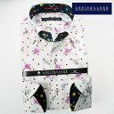 1702 国産長袖綿100ドレスシャツ コンフォート ドゥエボットーニボタンダウン 白ジャガードフラワー 赤ドット 紫薔薇メンズ fs3gm