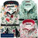 ドレスシャツ ワイシャツ シャツ メンズ 国産 長袖 綿100% コンフォート プリントシャツ 別注シリーズ ボタンダウン ワイドカラー