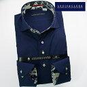 1610 長袖ドレスシャツ カッタウェイ(ホリゾンタル)ワイドカラー ネイビージャガード蔦織柄メンズ fs3gm