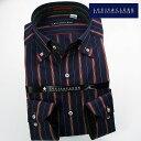 1610 国産長袖綿100ドレスシャツ ボタンダウン ネイビー・レッド レジメンタルストライプメンズ fs3gm