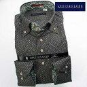 1610 国産長袖綿100ドレスシャツ ドゥエボットーニボタンダウン ダークブラウン 小紋調プリント柄メンズ fs3gm