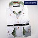 【楽天スーパーSALE】1611 国産長袖綿100ドレスシャツ ボタンダウンカラー ホワイトジャガード百合のロゴ入りデザインサークルメンズ fs3gm【Sサイズのみ】