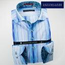 1611 国産長袖綿100ドレスシャツ カッタウェイワイドカラー ブルーイワシカラー ストライプ・ジャガードチェックメンズ fs3gm 10P03Dec16