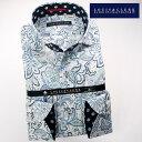 1611 国産長袖綿100ドレスシャツ カッタウェイワイドカラー ホワイト・ブルー ペイズリー柄メンズ fs3gm 10P03Dec16