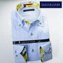 1610 国産長袖綿100ドレスシャツ ボタンダウン スカイブルージャガードドット柄メンズ fs3gm