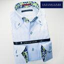 【楽天スーパーSALE】1611 国産長袖綿100ドレスシャツ ボタンダウンカラー スカイブルージャガードアーガイルチェック柄メンズ fs3gm【Sサイズのみ】