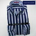 1611 国産長袖綿100ドレスシャツ ドゥエボットーニボタンダウン ボールドストライプ ブルー・グレーメンズ fs3gm