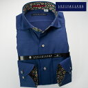 1611 長袖ドレスシャツ カッタウェイ(ホリゾンタル)ワイドカラー ネイビーブルージャガードミニドットメンズ fs3gm