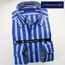 【楽天スーパーSALE】1611 国産長袖綿100ドレスシャツ ボタンダウン ボールドストライプ ブルー・ライトブルーメンズ fs3gm【Sサイズのみ】