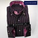 1612 長袖ドレスシャツ ドゥエボットーニボタンダウンカラー ブラック・ピンク・パープル・ホワイト マルチストライプメンズ fs3gm