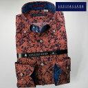 【楽天スーパーSALE】1612 国産長袖綿100ドレスシャツ ドゥエボットーニボタンダウン リーフ・フラワーシルエット テラコッタ・ネイビーメンズ fs3gm【Sサイズのみ】