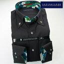 1702 国産長袖綿100ドレスシャツ ボタンダウンカラー ブラックジャガード千鳥格子メンズ fs3gm