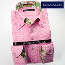 1702 国産長袖綿100ドレスシャツ ボタンダウンカラー ピンク ジャガード織花柄メンズ fs3gm