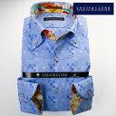 1703 国産長袖綿100ドレスシャツ コンフォート ボタンダウンカラー サックスブルーブルージャガードモザイクチェックメンズ fs3gm