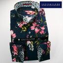 1703 国産綿100長袖ドレスシャツ コンフォート ボタンダウンカラー ネイビー・ピンク ボタニカルプリントメンズ fs3gm