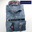 1703 国産長袖綿100ドレスシャツ コンフォート カッタウェイワイドカラー ネイビーグレージャガード迷彩柄風花柄メンズ fs3gm