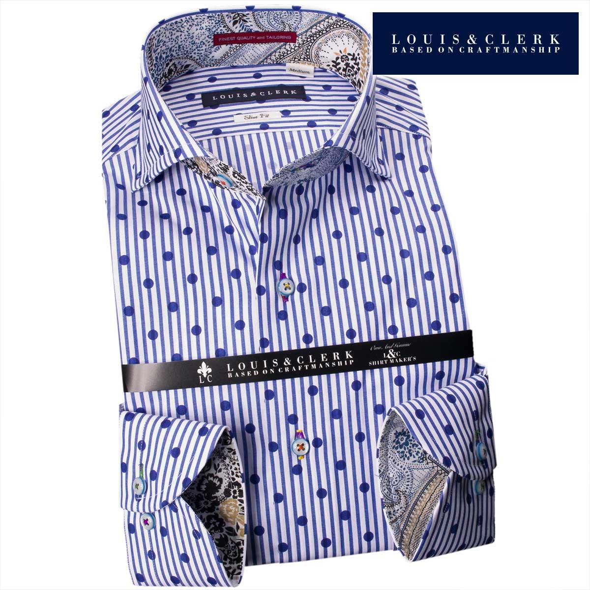 1711 国産長袖綿100ドレスシャツ スリムフィット カッタウェイワイド ブルーロンドンストライプ&プリントブルードットメンズ fs3gm