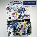 1512 国産長袖純綿ドレスシャツ スリムフィット(着丈短め) 釦/ボタン・プリント柄 スタンドカラーメンズ fs3gm