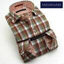 1501 長袖ドレスシャツ カッタウェイ(ホリゾンタル)ワイドカラー ツイル綿100 暖色系マルチカラーチェックメンズ fs3gm