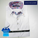 1607 国産半袖ドレスシャツ ドゥエボットーニボタンダウン 綿100 ホワイトジャガードハイビスカス 柄メンズ fs3gm