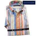 ドレスシャツ ワイシャツ シャツ メンズ 国産 半袖 コンフォート 綿100% ボタンダウン マルチカラーストライプ 1906 派手 個性的 オシャレ