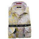 国産長袖綿100%ドレスシャツ コンフォート カッタウェイワイド ペイズリー総柄プリント イエロー ホワイト グレー 1912 メンズ