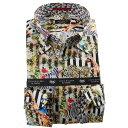 国産長袖綿100%ドレスシャツ ボタンダウン コンフォート プリント ブロックストライプ 動物 アニマル 1912メンズ