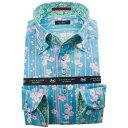 ドレスシャツ ワイシャツ シャツ メンズ 国産 長袖 綿100% コンフォート ボタンダウン ドビー織 プリント柄 水色 竹 梅 1912