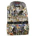 国産長袖綿100%ドレスシャツ ボタンダウン スリムフィット プリント ブロックストライプ 動物 アニマル 1912メンズ