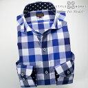 1705 国産長袖ドレスシャツ 綿100 スリムフィット カッタウェイワイドカラー オーバーブロックチェック ブルー ネイビーメンズ f..