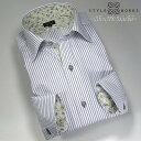 1301 国産長袖メンズドレスシャツ 綿100 グレーストライプ セミワイドカラー スリムフィットモデルメンズ fs3gm