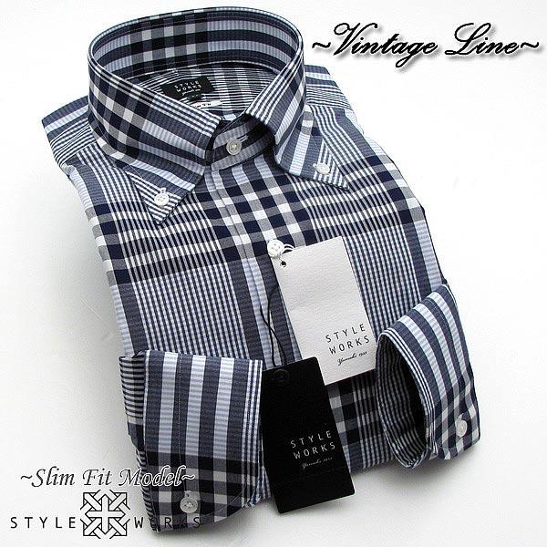 オリジナルドレスシャツ Vintage Line スリムフィット 長袖 GIZA88 ネイビーデザインチェック ボタンダウン fs3gm